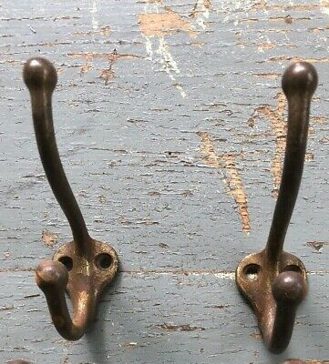Antique Vintage Coat Hooks  Brass Plated Cast Iron, Lot of 2 ( 4 inch)