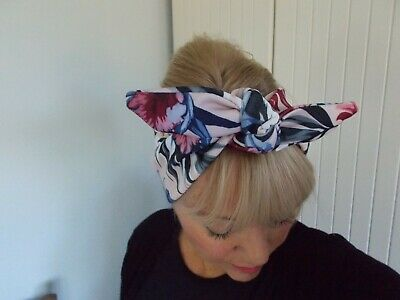 HEAD SCARF HAIR BAND pink nude FLOWER STRETCH TIE ROCKABILLY SWING  NEW