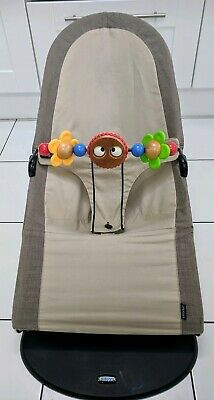 Beige and Grey Babybjorn Bouncer with wooden toy - *Great Condition*