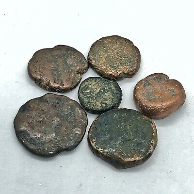 6 Medieval Middle Eastern & Indian Thick Copper Dump Coins Mongul Etc