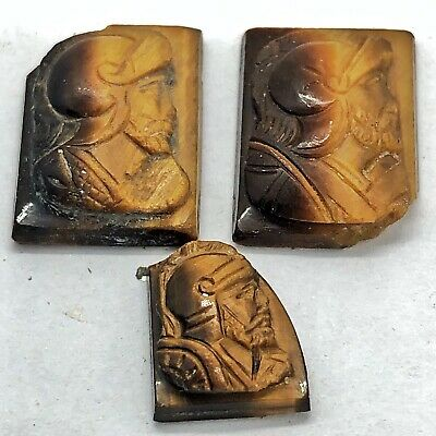 3 Antique Roman Soldier Carved Tiger's Eye Gemstones Ex-Jewelry Old Empire