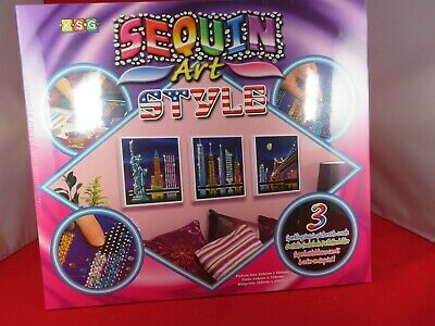 New Sequin Art Style Craft USA Skyline Including Statue of Liberty