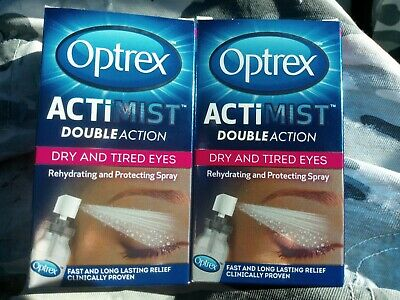 2 X 10ml Optrex Double Action Actimist Spray For Dry & Tired Eyes