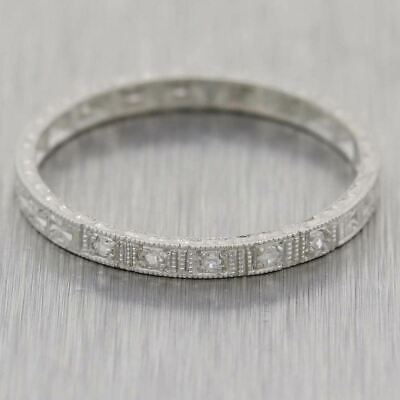 1930s Antique Art Deco Platinum Diamond Thin Engraved Wedding Band Ring