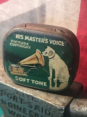 Vintage His Masters Voice Soft Tone Tin with A Few Needles