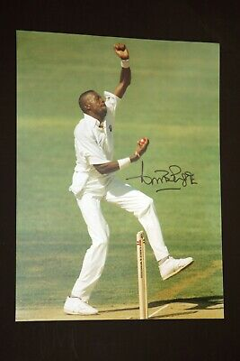 Curtly Ambrose Hand Signed Cricket 12 x16 Photograph : D