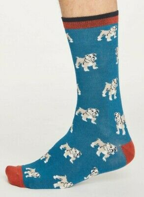 Thought Bamboo Socks, Men's Single Pack (Ink Blue Dog)