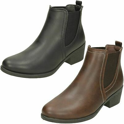 LADIES SMART CHELSEA STYLE ANKLE BOOTS CONE HEEL ELASTIC GUSSET SPOT ON F5R0899