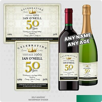 Personalised Happy Birthday Anniversary Wine / Champagne Bottle Sticker Label