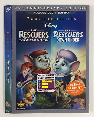 The Rescuers *Slipcover ONLY* for DVD+BLURAY WALT DISNEY ANIMATION EMBOSSED