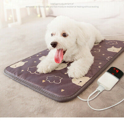 Pet Heat Pad Puppy Electric Heated Mat Blanket Dog Cat Whelping Bed Mat Timer