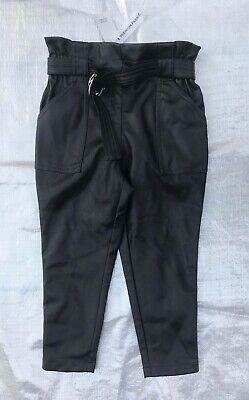 "Bnwt "" River Island "" Black Faux Leather Paperbag Trousers - 6 Years ! Rrp £22"
