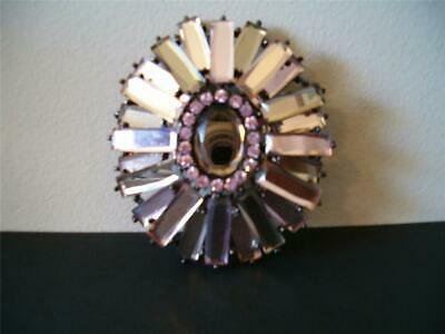 Andy The-Anh Swarovski Rhinestone Ruffle Brooch Domed Runway Red Carpet Amethyst