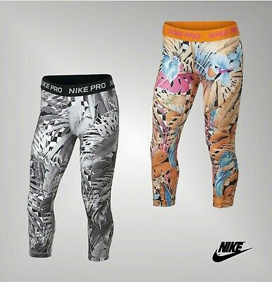 Girls Nike Elasticated Tight Fit Pro Capri Leggings Sizes from 7 to 13