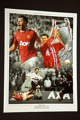 Ryan Giggs Hand Signed Manchester United Football 12x16 Photograph : A