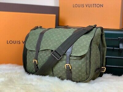 "LOUIS VUITTON France Authentic 14"" Safari Denim Travel Messenger Shoulder Bag"
