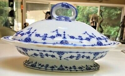 "Antique Victorian 1860's Minton ""Danish"" England RARE Blue white covered serving"