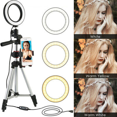 "5.7"" LED Ring Light Kit w/ Stand Dimmable for Makeup Phone Camera YouTube Live L"
