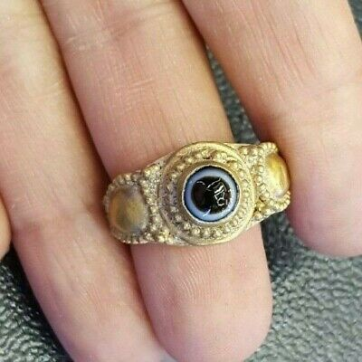 ancient Roman Eye agate Solid Gold 18K GOLD Ring Talisman Seeing Eye Protection