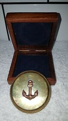 Vintage Bottle Opener Brass Nautical Ships Boat Anchor With Wooden Case.
