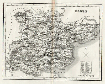 Map Essex Chelmsford Braintree Maldon Barking Romford Canvey 1846 Antique