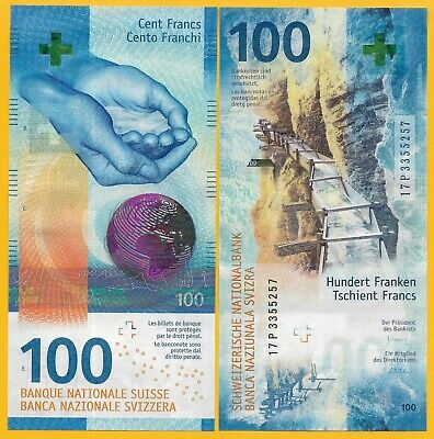 Switzerland 100 Franken p-new 2017(2019) Sign. Studer & Maechler UNC Banknote