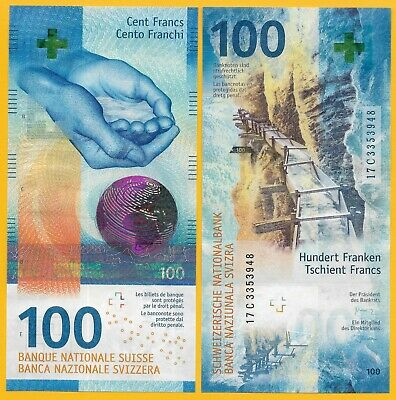 Switzerland 100 Franken p-new 2017(2019) Sign. Studer & Jordan UNC Banknote