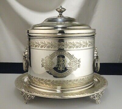 Antique Mappin & Webb Silver Plate Cracker Barrel Biscuit Box  -  57460