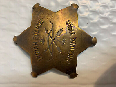"""Embossed Sheriff - Durango Colorado Brass Star Brass Badge Pin Old West 3"""" NEW"""