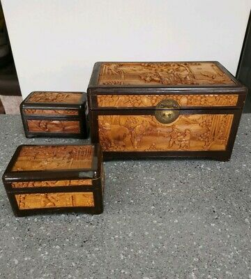3 X Vintage Chinese Handcarved Wooden Boxes