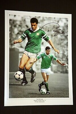 Paul McGrath Hand Signed Ireland Football 12x16 Photograph