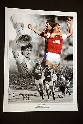 Charlie Nicholas Hand Signed Arsenal Fc Football 12x16 Photograph