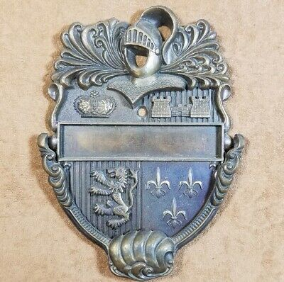 Vintage Brass Door Knocker - Medieval Knight Shield