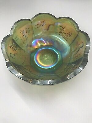 Antique Northwood Carnival Glass Green Singing Birds Berry Bowl  Htf