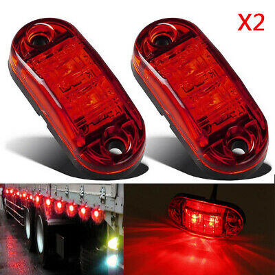 "2x Red LED 2.5"" 2 Diode Light Oval Clearance Trailer Truck Side Marker Lamp 12V"
