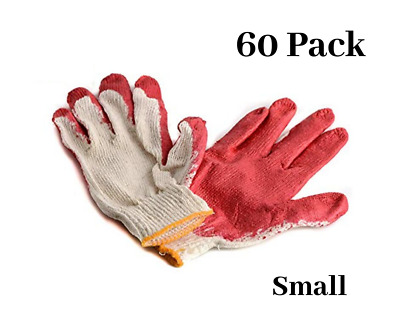 60 Pairs Red Latex Coated Cotton Work Gloves Small