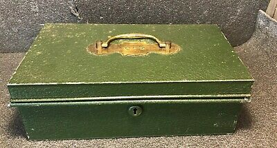 Vintage Steel Cashbox Green With Brass Removable Tray, Money Tin, Petty Cash Box