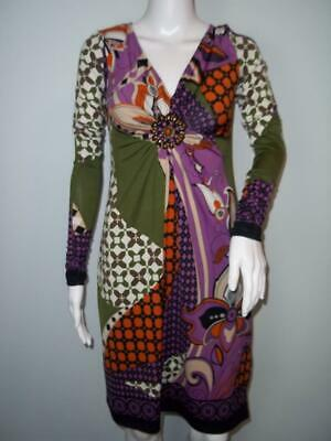 ECI Sheath Dress Sz 4 Long Sleeve Purple Mod Print Beaded V-Neck Ruched Sleeve