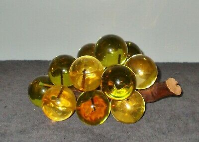 Vintage Mid Century Amber  Lucite Acrylic Grape Cluster