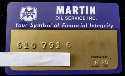Martin Oil - Vintage Credit Card expired 1980 ♡Free Shipping♡ cc13