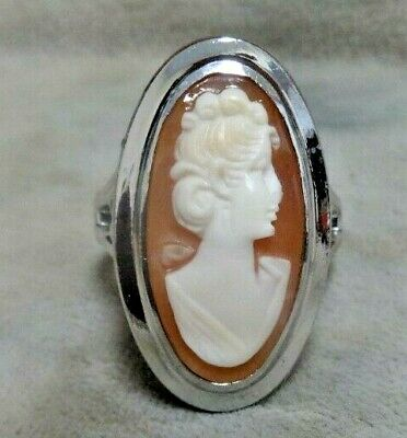 Vintage Antique ESPO Sterling Silver Shell Lady Cameo Ladies Ring.  Size 5.5
