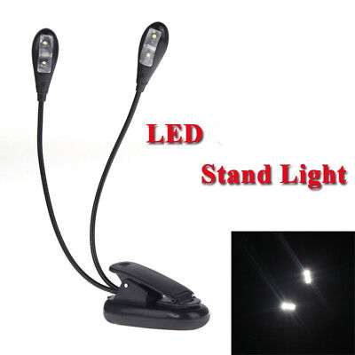 2 Dual Flexible Arms 4 LED Clip-on Light Lamp for Piano Music Book Lamp