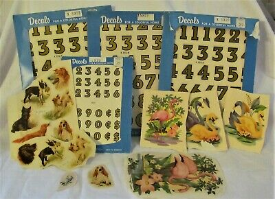 Vintage Lot of Meyercord Decals Dogs Numbers Swan Flamingo