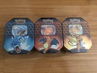 Pokemon Hidden Fates Tins Charizard Gyarados Raichu TCG-Factory Sealed