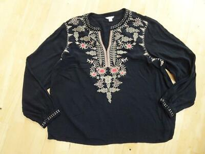 MONSOON ladies black gold embroidery detail tunic top UK 20 PLUS SIZE EXCELLENT
