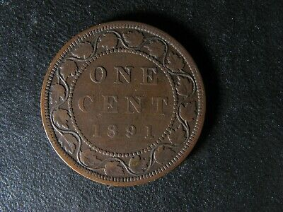 1 cent 1891 LL SD Obv. 3 Canada large one penny coin Queen Victoria c ¢ F-12