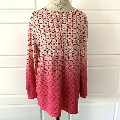 Adrienne Vittadini Womens Hot Pink Ombre Long Sleeve Pop Over Blouse Size Med