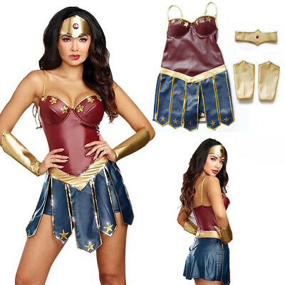 Adult Wonder Woman Cosplay Halloween Party Costumes Dawn Justice Superhero Dress