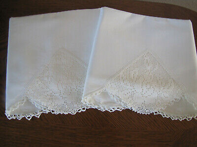Vintage Pair Of Pillowcases All White & Fancy White Crocheted Trim So Exquisite