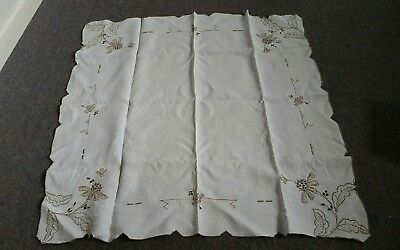 Lovely beige and white embroidered cut work table cloth 85 by 86cm approx